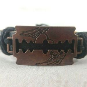 Jewelry - Leather Cuff W/ Razor Blade/ Winged Heart Charm